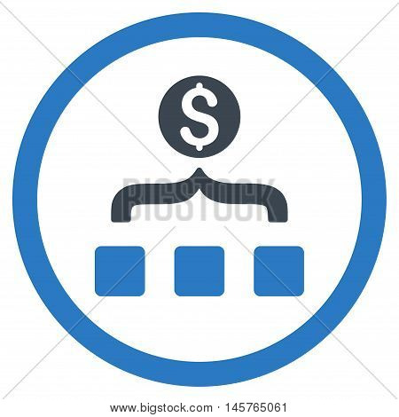 Money Aggregator rounded icon. Vector illustration style is flat iconic bicolor symbol, smooth blue colors, white background.
