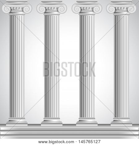 Roman columns isolated on white background realistic vector