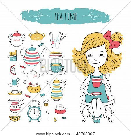 Tea collection and girl on chair. Vector set tea time illustration. Sweet girl and tea accessories drawn by hand in cartoon style.