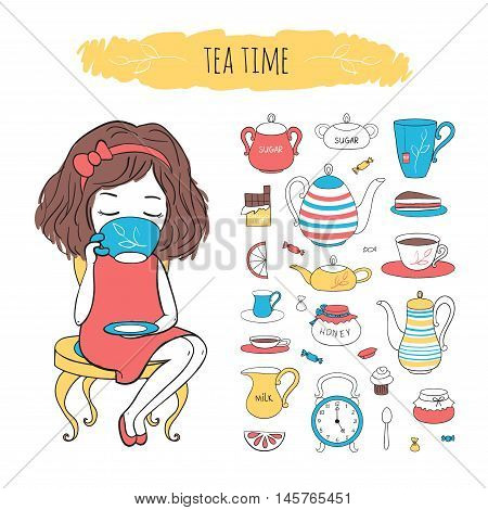 Tea time collection. Cute girl sitting on chair and drinking tea. Vector set tea accessories. Illustration drawn by hand in cartoon style.