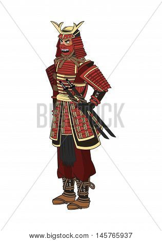 Samurai man cartoon with uniform icon. comic and japan culture. Colorful and isolated design. Vector illustration