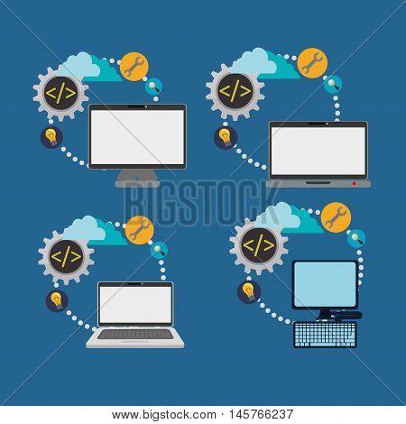 computer laptop cloud gear bulb lupe developer web responsive development website programming icon set. Colorful design. Vector illustration