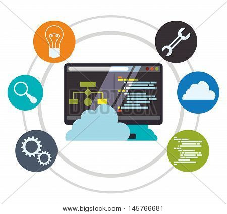 computer cloud tools wrench bulb lupe gears developer web responsive development website programming icon set. Colorful design. Vector illustration