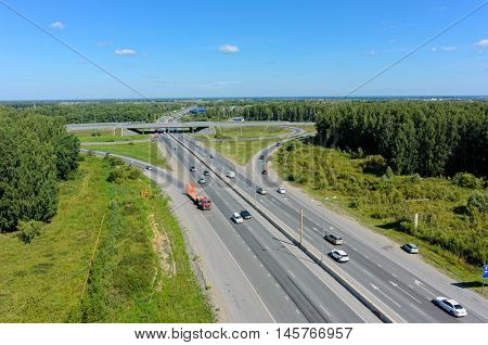 Tyumen, Russia - August 3, 2016: Bird eye view onto outcome of roads on Irbit path with bypass way