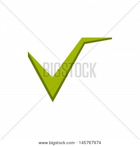 Green checkmark icon in flat style isolated on white background. Click and choice symbol vector illustration