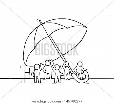 Sketch of crowd little people under umbrella. Doodle cute miniature scene of workers about safety. Hand drawn cartoon vector illustration for business and social design.
