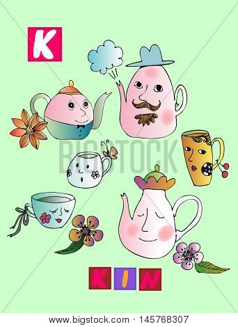 Tea History. Cute Cartoon English Alphabet With Colorful Image And Word. Kids Vector Abc On Green Ba