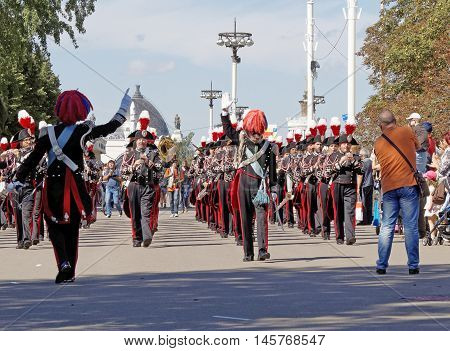MOSCOW, RUSSIA - August 27, 2016: Band formation of the Carabinieri Italy. Festival of military orchestras