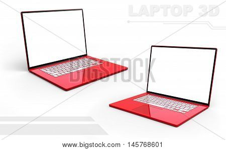 A illustration of 3D red glossy perspective laptop set