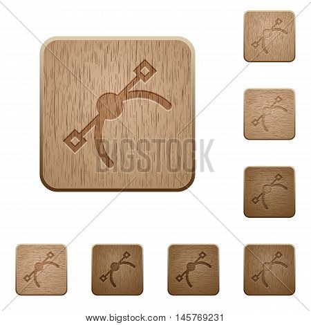 Set of carved wooden vector symbol buttons in 8 variations.