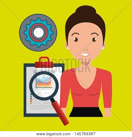 woman clipboard search gear vector illustration eps 10
