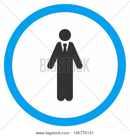 Clerk vector bicolor rounded icon. Image style is a flat icon symbol inside a circle, blue and gray colors, white background.