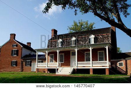 Port Tobacco Maryland: 18th century Thomas Stone National Historic Site main house with its gambrel roof three window dormers and large portico