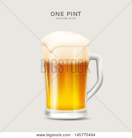 one pint - detailed realistic vector illustration of a fresh glass of beer, great for Oktoberfest designs