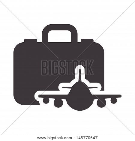 suitcase airplane bag airplane travel baggage luggage instrument icon. Flat and Isolated design. Vector illustration
