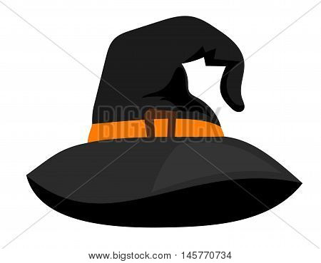 Witch hat or vector sorceress cap halloween wizard cartoon dark accessory on white background