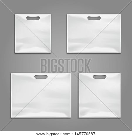 Disposable plastic bags vector templates, design mockups. Waterproof pack for storage illustration