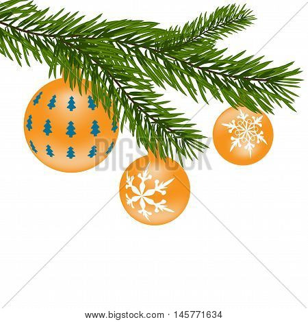 New Year or Christmas toys. Firtree branch with yellow balls with a pattern. Vector illustration