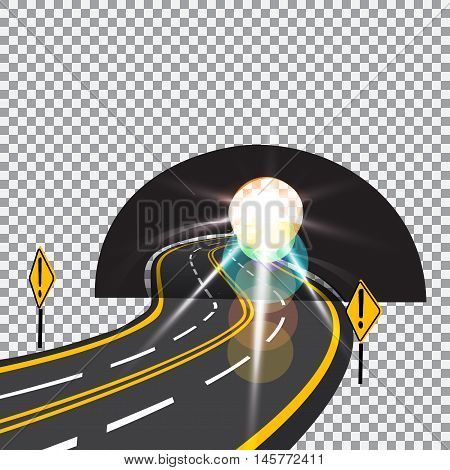 The road to the future passes through the tunnel. Danger. Bright sunlight. Vector illustration.