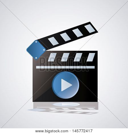 clapboard on. Video movie cinema and media theme. Colorful design. Vector illustration