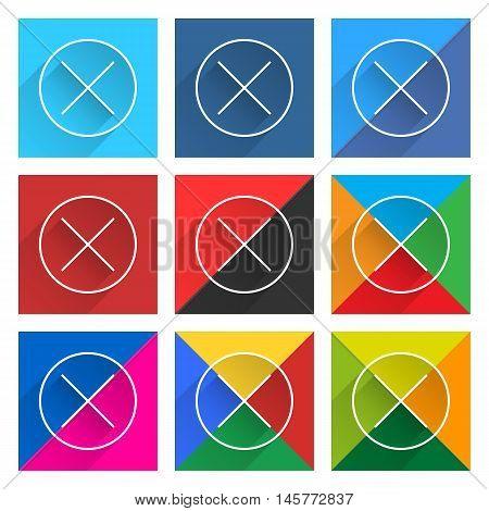 Flat Popular Social Network Web Square Icon Delete