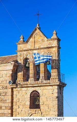 Greek Flag On Church Of Saint Nicholas Molou