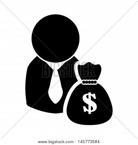 businessman money bag, pictogram necktie business financial item icon. Flat and Isolated design. Vector illustration