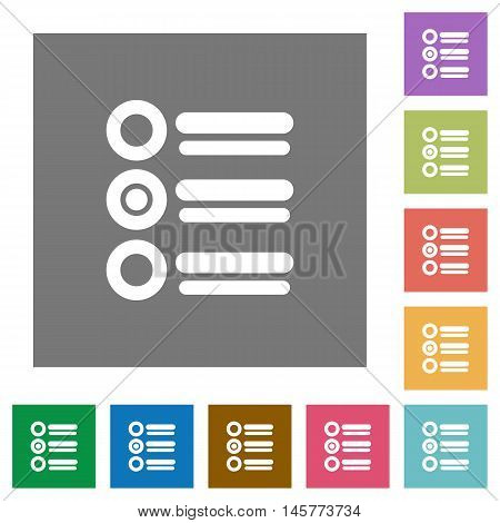 Radio group flat icon set on color square background.