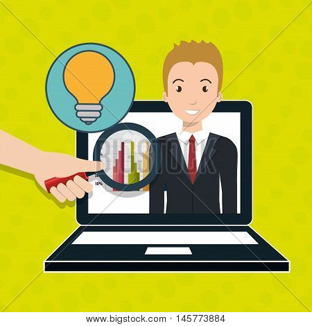 man statistics computer search vector illustration eps 10