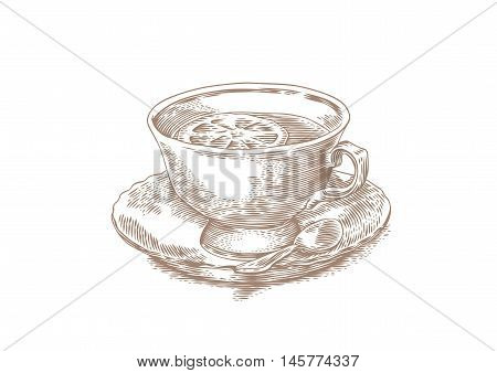 Drawing of cup of tea with lemon