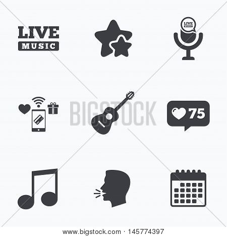 Musical elements icons. Microphone and Live music symbols. Music note and acoustic guitar signs. Flat talking head, calendar icons. Stars, like counter icons. Vector