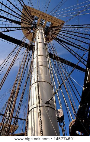 Baltimore Maryland - July 22 2013: Center mast and rope rigging at the 1853 tall ship U. S. S. Constellation anchored at Inner Harbor