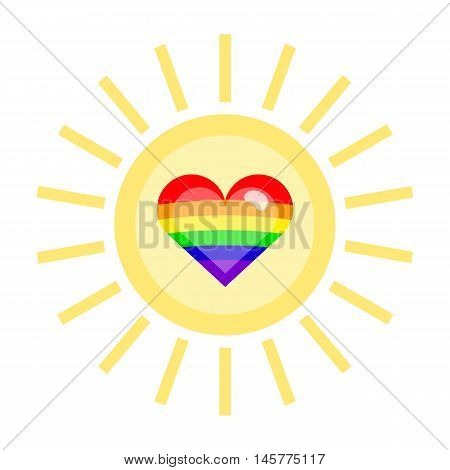 LGBT heart in a sun. Nice and simple illustration