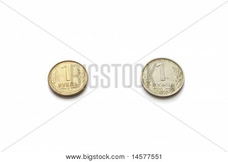 Head Of Two 1 Ruble  Russian Federation Coin Issued In 1991 And 1992 Isolated On White