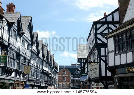 CHESTER, UK - JULY 17, 2016: View of St. Werburgh Street next to Chester cathedral, Chester city centre, Cheshire, UK
