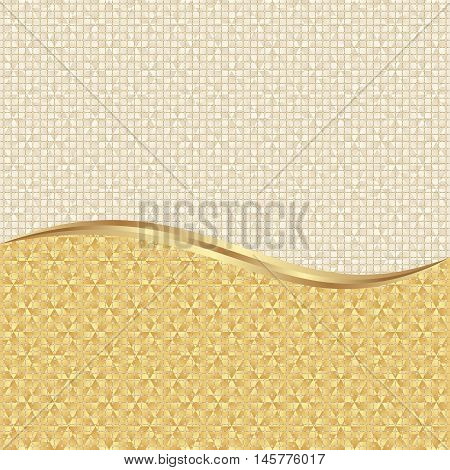 textured gold background divided into two - vector illustration