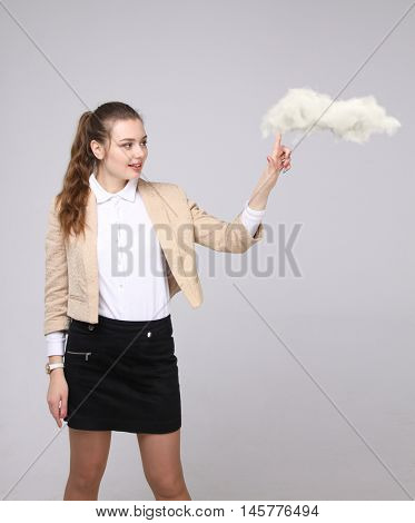 Young woman and cloud, cloud computing concept