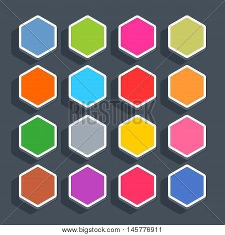 16 3d blank icon in flat style. Set 02 hover variant . Colored matted hexagon button with shadow on gray background. This vector illustration web internet design element saved in 8 eps