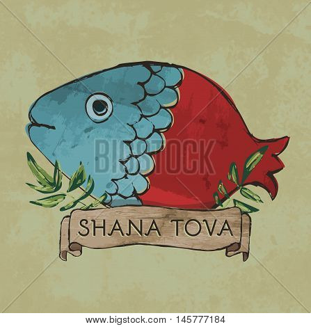 Shana Tova postcard design - Retro style - Half fish half pomegranate with leaves and sign on textured background in vector format