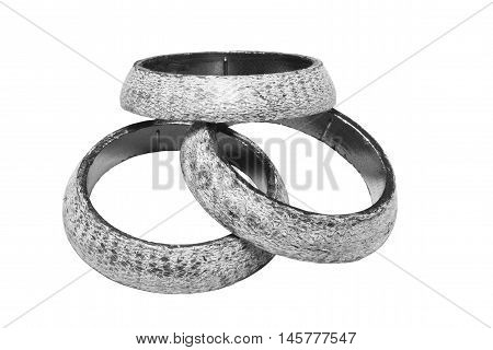 muffler laying in the form of a ring on a white background