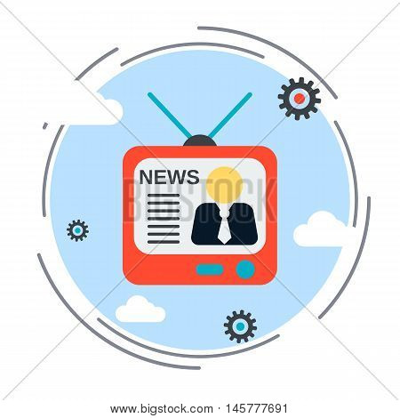 Newscast, information, broadcasting flat design style vector illustration