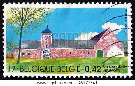 BELGIUM - CIRCA 2001: a stamp printed in the Belgium shows Beauvechain Farmstead circa 2001