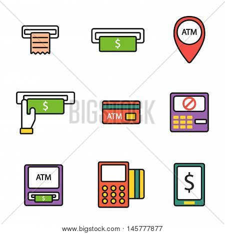Finance atm and business vector payment card icon set. ATM icons exchange technology payment machine. Finance cash bank card atm icons credit sign banking currency symbol set.