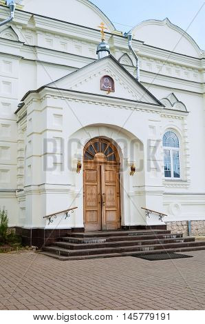 Main entrance of Intercession Cathedral in Zverin Intercession monastery Veliky Novgorod Russia - architecture closeup view.