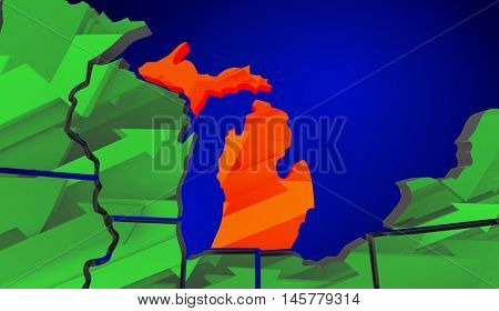 Michigan Map United States America Growth Increase Improve 3d Illustration