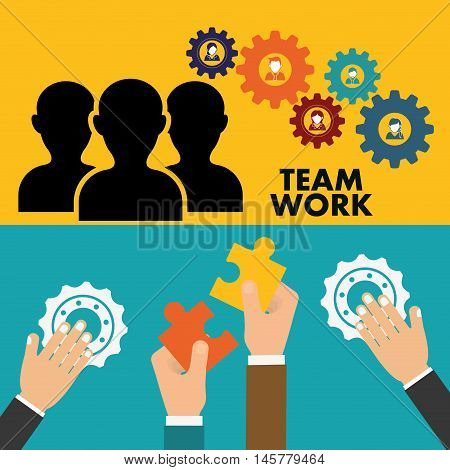 pictogram gears hand teamwork support collaborative cooperation work icon set. Colorful design. Vector illustration