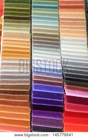 Velvet swatches in an interior decoration shop