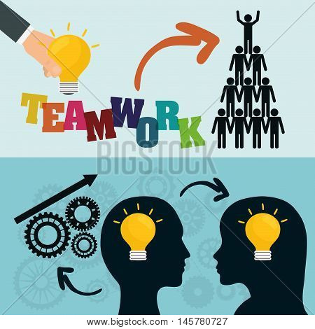 pictogram heads gears bulbs teamwork support collaborative cooperation work icon set. Colorful design. Vector illustration