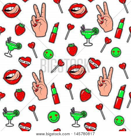 Vector illustration of fashion fun patch stickers with lips, lipstick, hearts, hand and other as seamless background. Endless pattern with trend pin isolated on white background in comic cartoon style