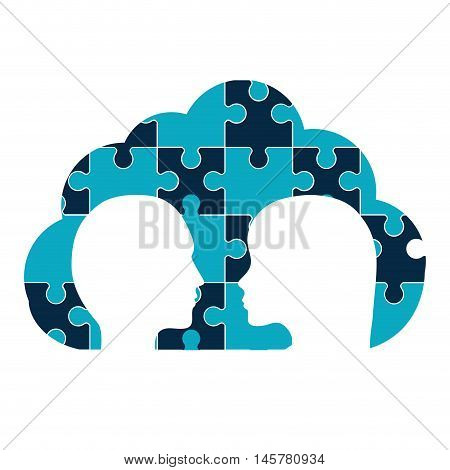 puzzle heads cloud teamwork support collaborative cooperation work icon set. Colorful design. Vector illustration